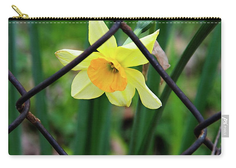 Daffodil Carry-all Pouch featuring the photograph 1 Sad Daffy Behind Bars by Andee Design