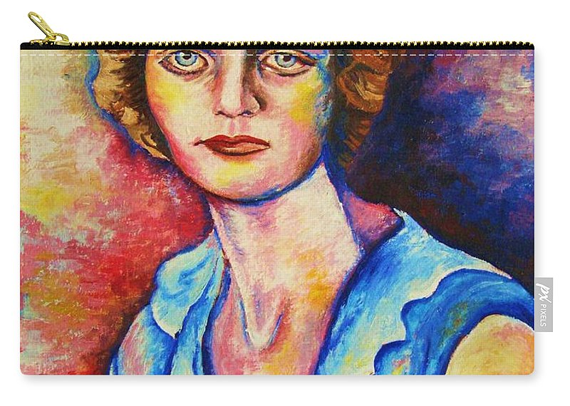 Portraits Carry-all Pouch featuring the painting Sad Eyes by Carole Spandau