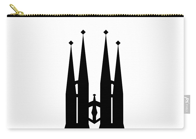 Carry-all Pouch featuring the mixed media Sagrada Familia by Asbjorn Lonvig