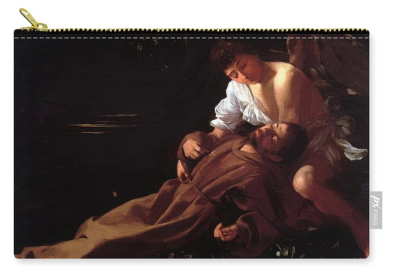 Caravaggio Carry-all Pouch featuring the painting Saint Francis Of Assisi In Ecstasy by Caravaggio