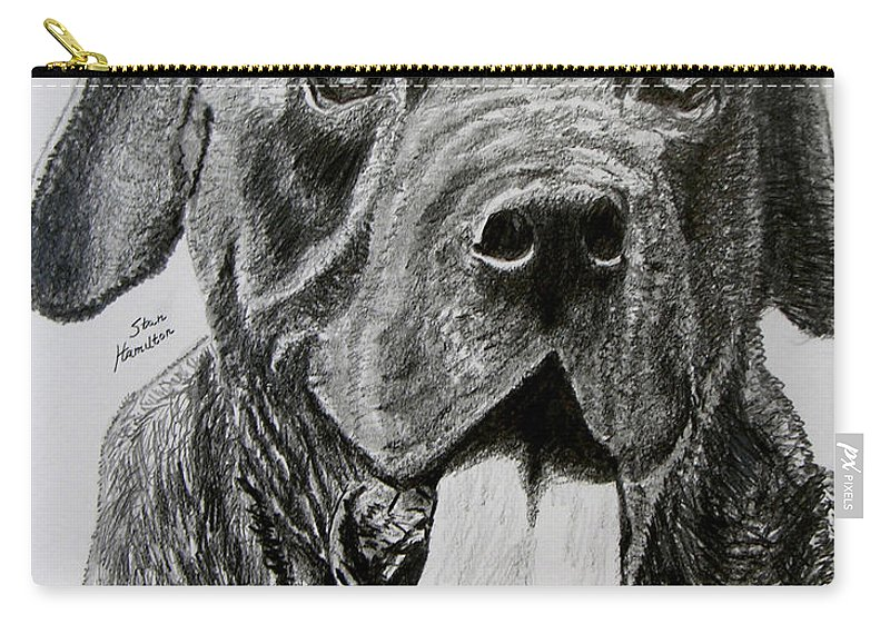 Dog Portrait Carry-all Pouch featuring the drawing Sampson by Stan Hamilton