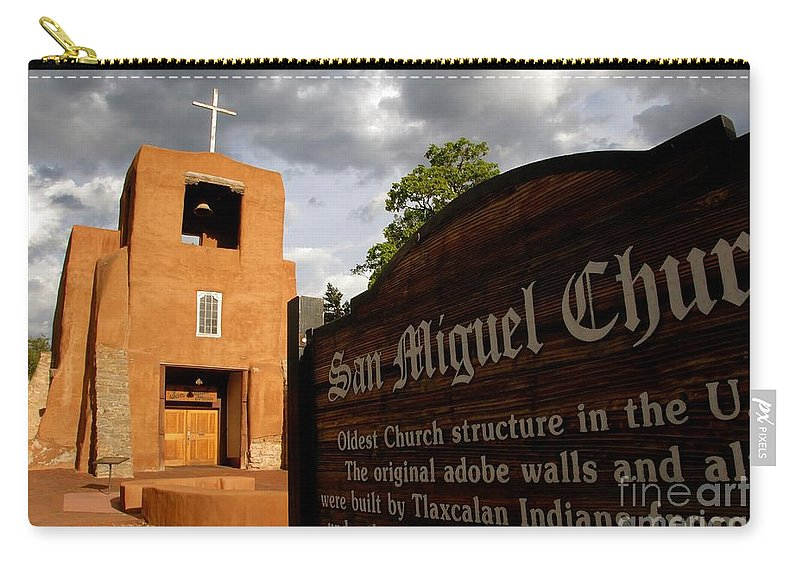 San Miguel Mission Church New Mexico Carry-all Pouch featuring the photograph San Miguel Mission Church by David Lee Thompson