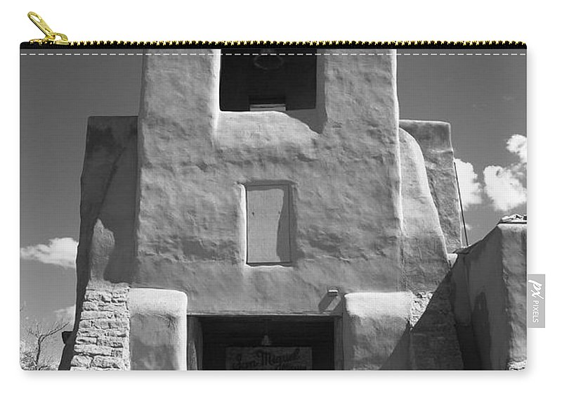 66 Carry-all Pouch featuring the photograph Santa Fe - San Miguel Chapel by Frank Romeo