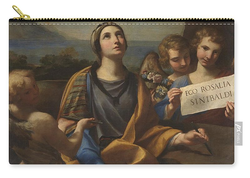 Santa Rosalia Of Palermo Carry-all Pouch featuring the painting Santa Rosalia Of Palermo by MotionAge Designs