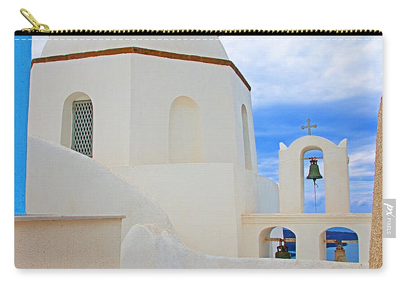 Greece Carry-all Pouch featuring the photograph Santorini Church Dome by Rich Walter