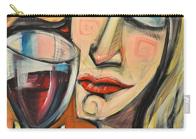 Wine Carry-all Pouch featuring the painting Savoring The First Sip by Tim Nyberg