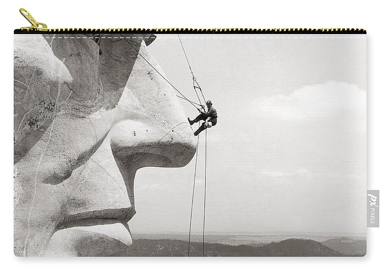 1937 Carry-all Pouch featuring the photograph Scaling Mount Rushmore by Granger