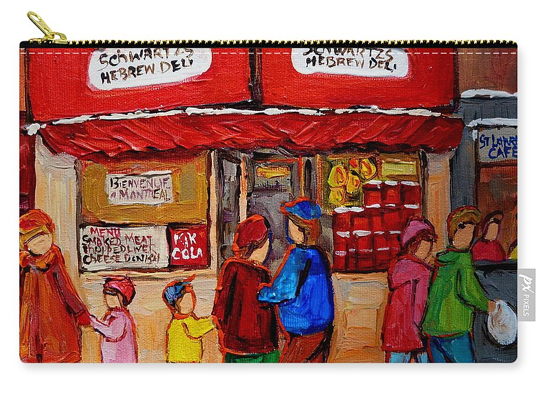 Schwartzs Hebrew Deli Carry-all Pouch featuring the painting Schwartz's Hebrew Deli by Carole Spandau