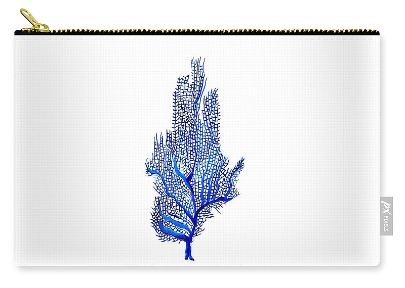 Indigo Blue Color Art Carry-all Pouch featuring the painting Sea Fan by Sweeping Girl