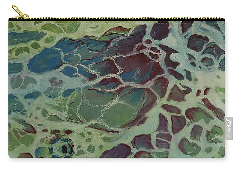 Sea Carry-all Pouch featuring the painting Sea Foam by Art Nomad Sandra Hansen
