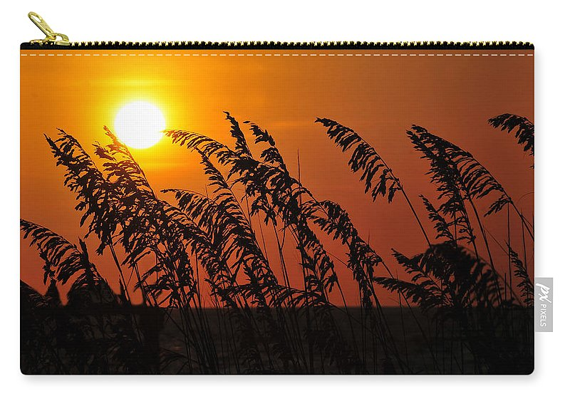 Fine Art Photography Carry-all Pouch featuring the photograph Sea Oats At Sunset by David Lee Thompson