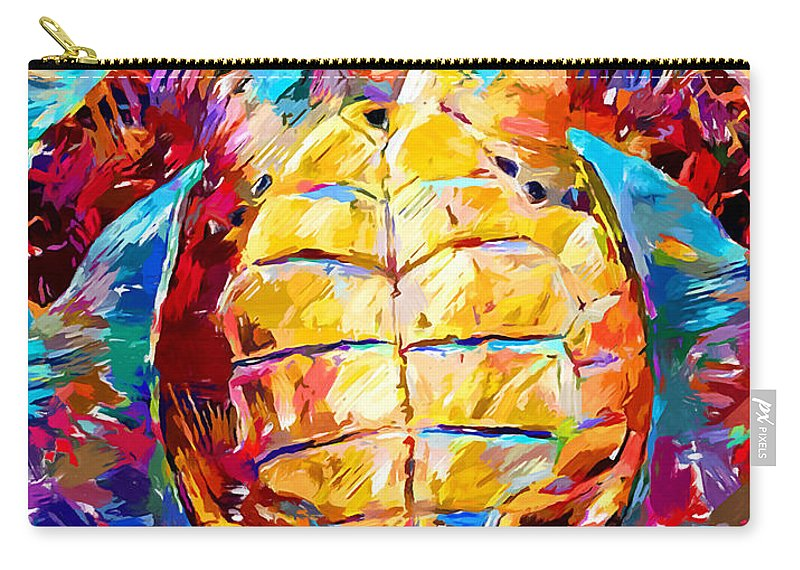 Turtle Carry-all Pouch featuring the painting Sea Turtle by Chris Butler