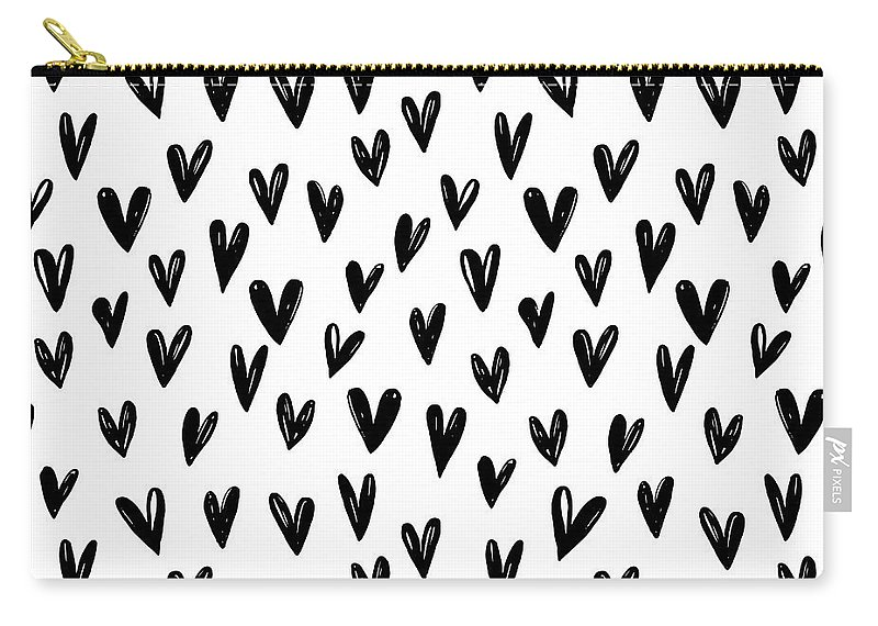 Seamless Carry-all Pouch featuring the digital art Seamless Pattern With Hand Drawn Hearts. by Sandy Sheni