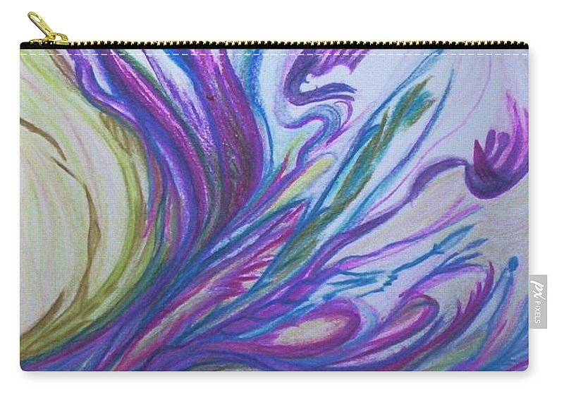 Abstract Carry-all Pouch featuring the painting Seaweedy by Suzanne Udell Levinger