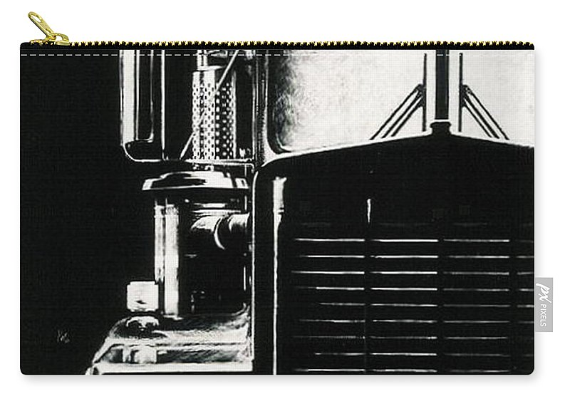 Vehicle Carry-all Pouch featuring the drawing Semi by Barbara Keith