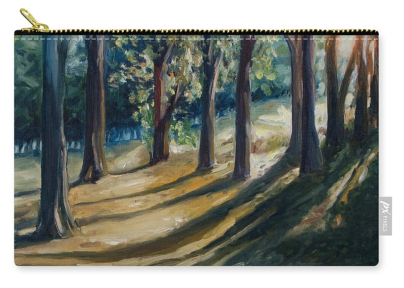 Trees Carry-all Pouch featuring the painting Shadows by Rick Nederlof