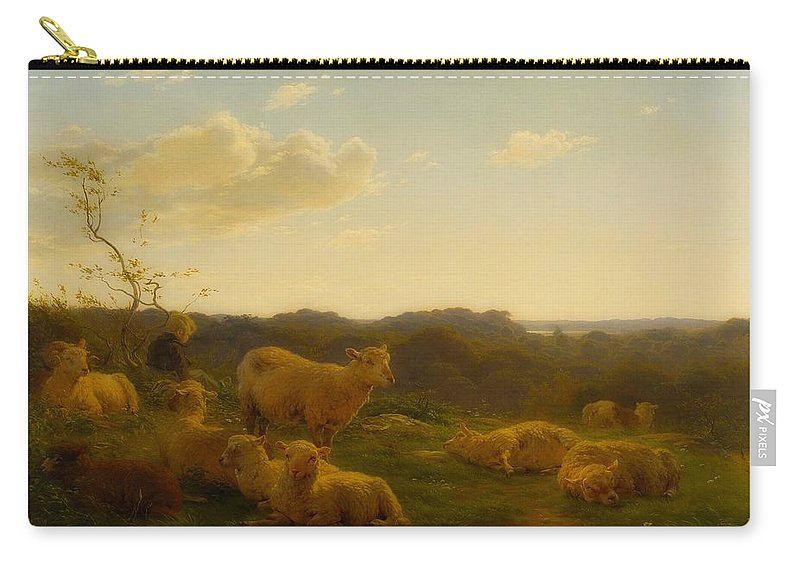 Painting Carry-all Pouch featuring the painting Sheep On A Hill Near Skarridso by Carlo Dalgas