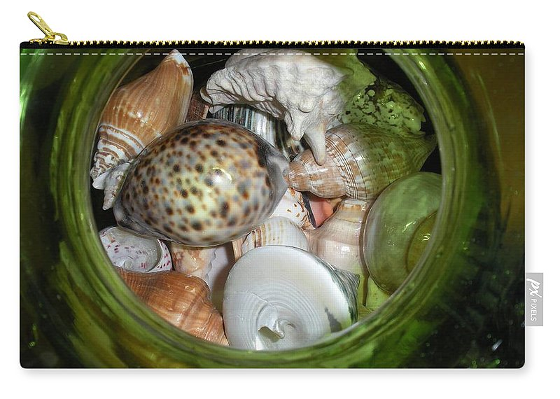 Sealife Carry-all Pouch featuring the photograph Shells Under Glass by Maria Bonnier-Perez