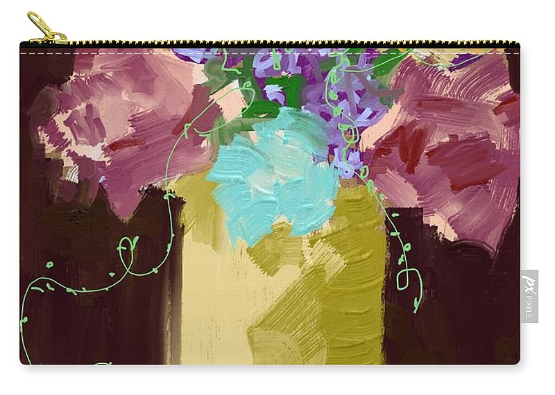 #dark Sienna #floral #tendrils #art Set Art #mixed Media Digital Carry-all Pouch featuring the digital art Sienna Floral by Mary Jane Mulholland