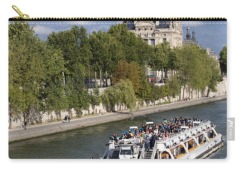 Paris Carry-all Pouch featuring the photograph Sightseeing Boat On River Seine To Louvre Museum. Paris by Bernard Jaubert