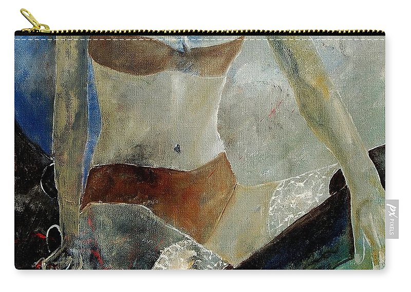 Nude Carry-all Pouch featuring the painting Sitting Girl by Pol Ledent