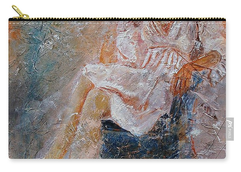 Girl Carry-all Pouch featuring the painting Sitting Young Girl by Pol Ledent