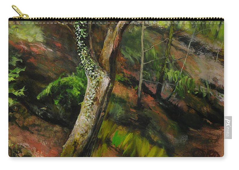 Landscape Carry-all Pouch featuring the painting Sketch Of A Treetrunk by Harry Robertson