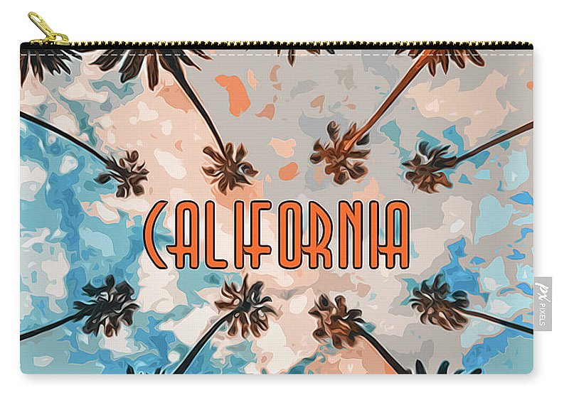 California Sunset Carry-all Pouch featuring the painting Skies Of California by Andrea Mazzocchetti