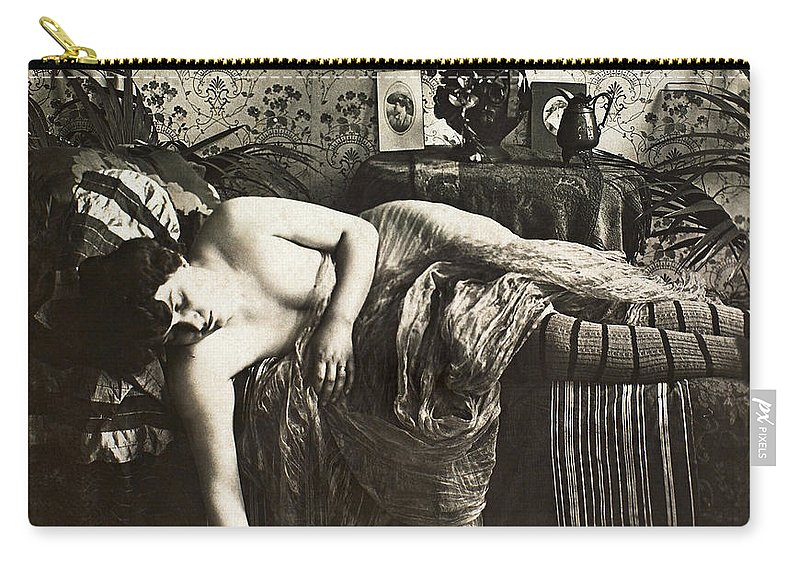 1900 Carry-all Pouch featuring the painting Sleeping Woman, C1900 by Granger
