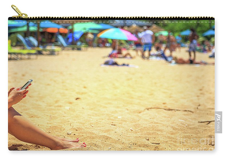 Smartphone Carry-all Pouch featuring the photograph Smartphone Beach Woman by Benny Marty