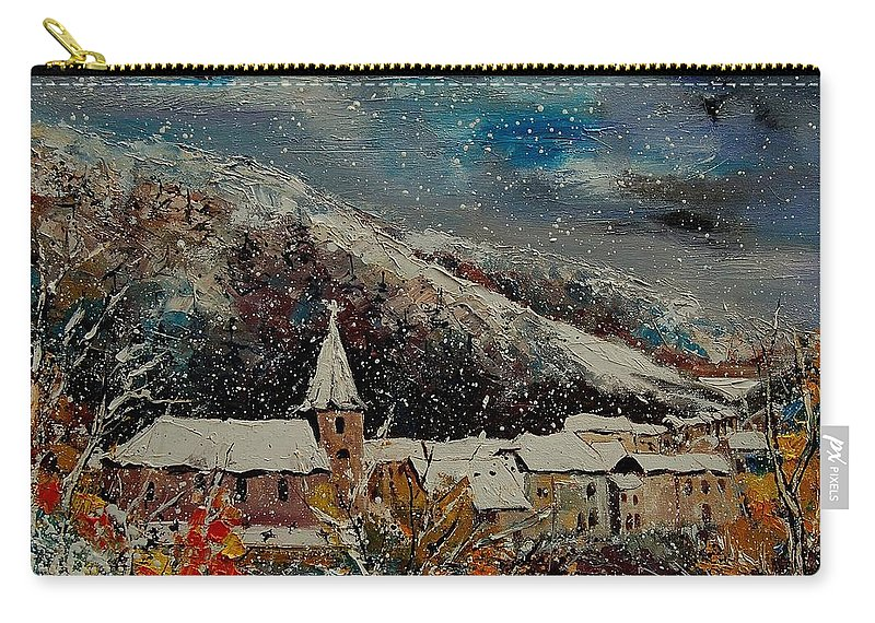 Winter Carry-all Pouch featuring the painting Snow In Bohan by Pol Ledent
