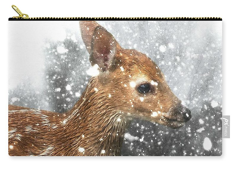 Fawn Carry-all Pouch featuring the photograph Snowing by Lisa Hurylovich