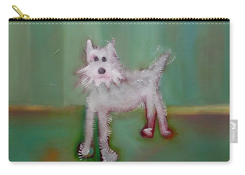 White Puppy Carry-all Pouch featuring the painting Snowy by Charles Stuart