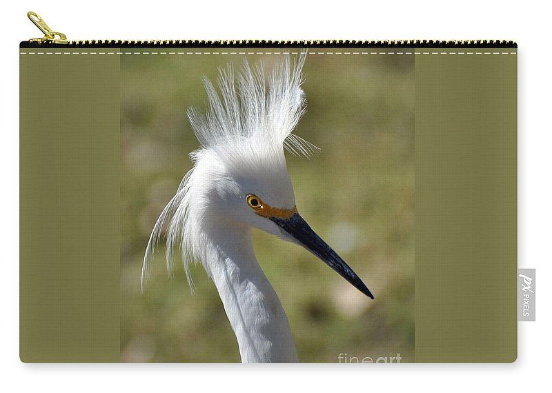 White Carry-all Pouch featuring the photograph Snowy Egret by Savannah Gibbs