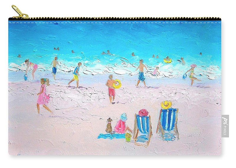 Beach Carry-all Pouch featuring the painting Soaking Up The Sun by Jan Matson