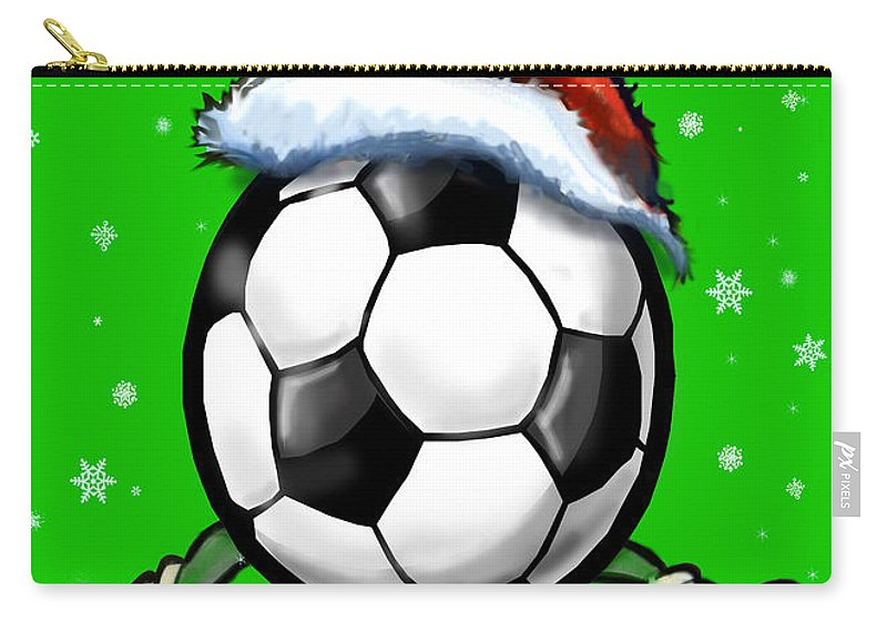 Soccer Carry-all Pouch featuring the greeting card Soccer Christmas by Kevin Middleton