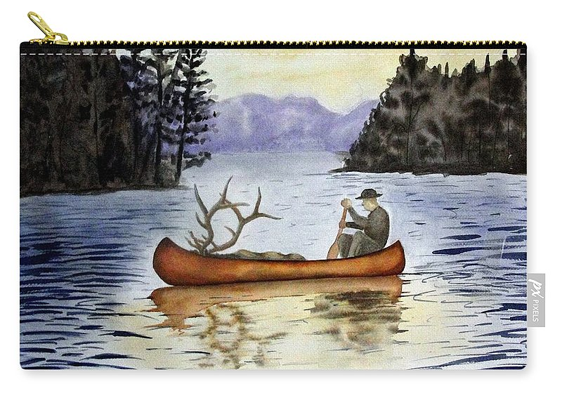 Canoe Carry-all Pouch featuring the painting Solitude by Jimmy Smith