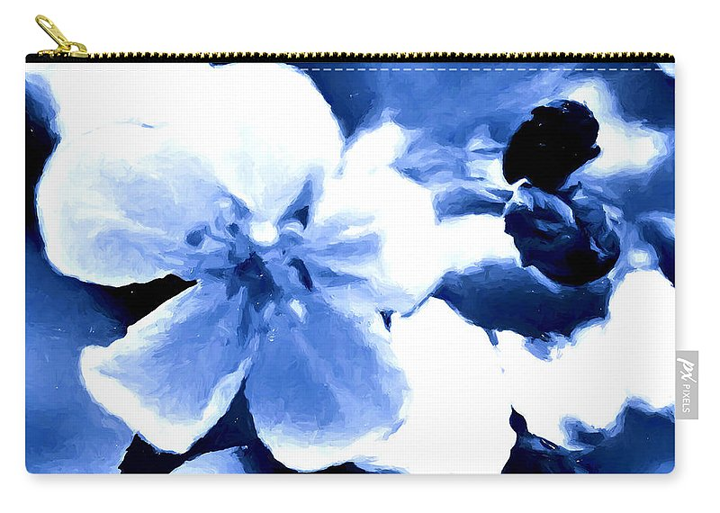 Blue Carry-all Pouch featuring the mixed media Song Of The Bumble Bee by Debra Lynch