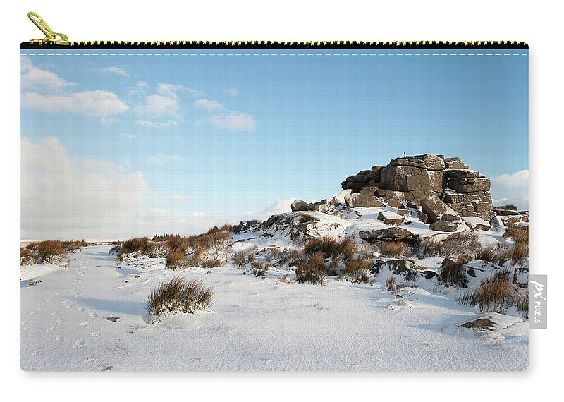 Snow Carry-all Pouch featuring the photograph South Hessary Tor In The Snow II by Helen Northcott