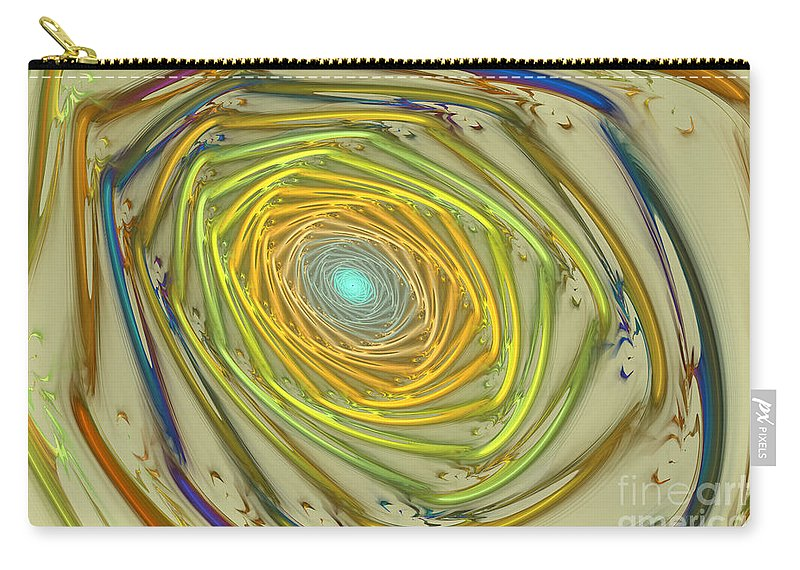 Fractal Carry-all Pouch featuring the mixed media Spiral Rainbow by Deborah Benoit