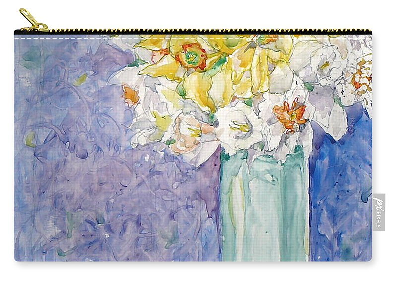 Watercolor Carry-all Pouch featuring the painting Spring Blossoms by Jan Bennicoff