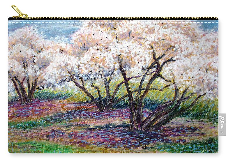 Oil Pastel Carry-all Pouch featuring the painting Spring Has Sprung by Art Nomad Sandra Hansen