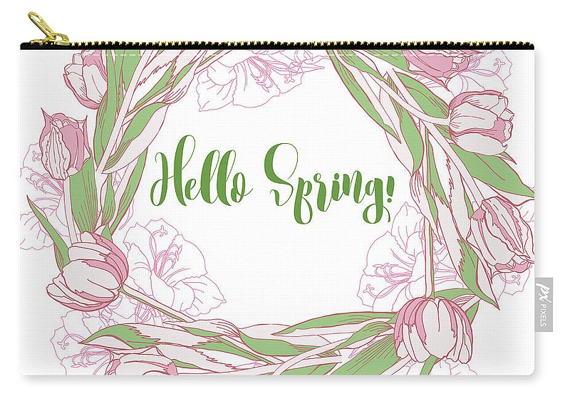 Flower Carry-all Pouch featuring the digital art Spring Wreath With Pink White Tulips by Natalia Piacheva