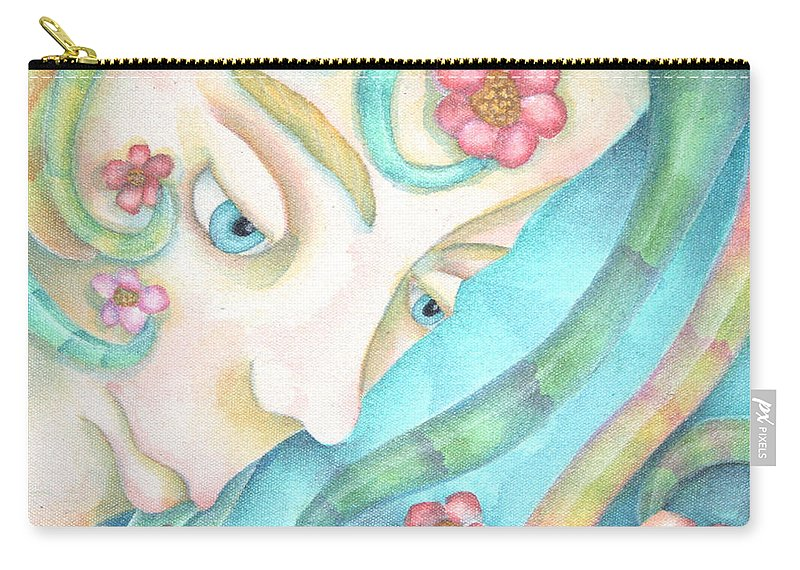 Sprite Carry-all Pouch featuring the painting Sprite Of Kind Thoughts by Jeniffer Stapher-Thomas