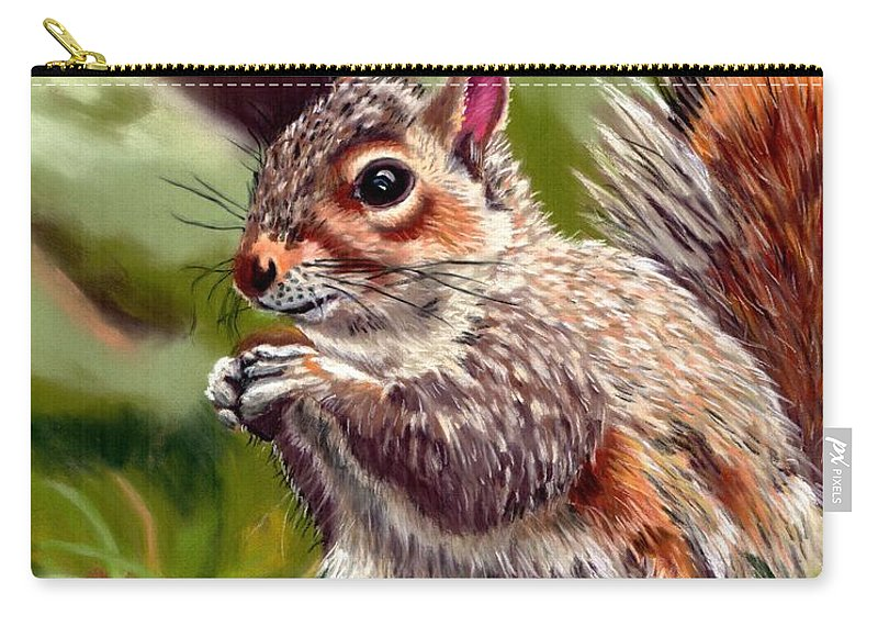 Squirrel Carry-all Pouch featuring the painting Squirrel by Tammy Crawford