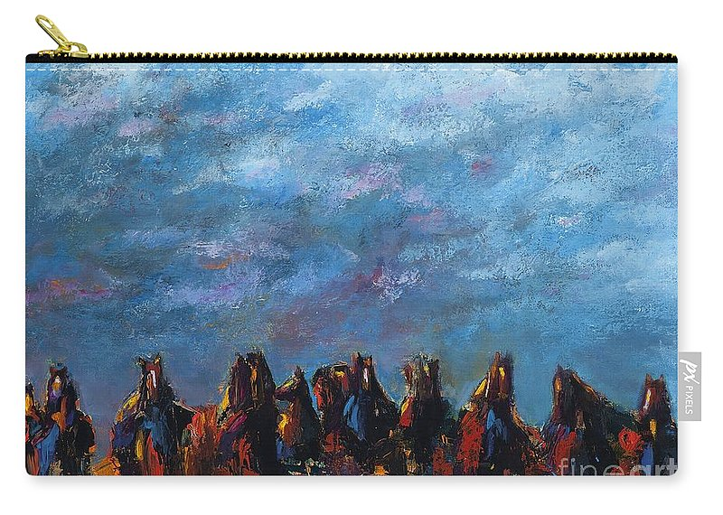 Horses Carry-all Pouch featuring the painting Stampede by Frances Marino