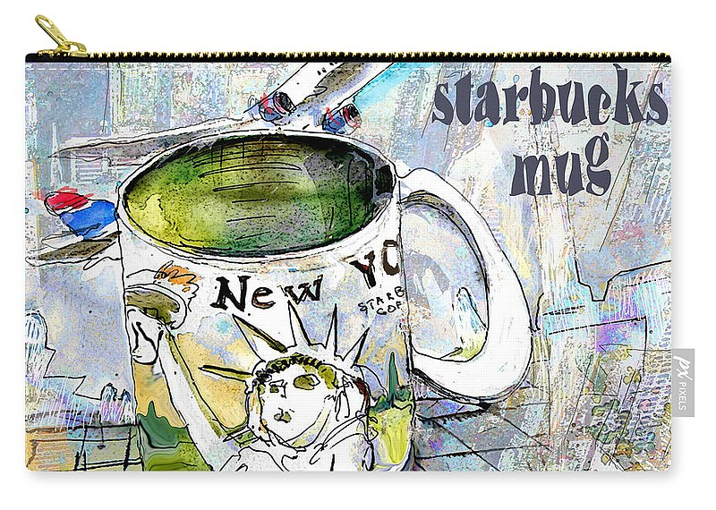 Mugs Art Carry-all Pouch featuring the painting Starbucks Mug New York by Miki De Goodaboom
