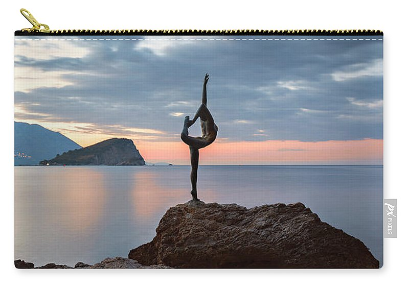 Ballerina Carry-all Pouch featuring the photograph Statue In Budva Montenegro by Sophie McAulay