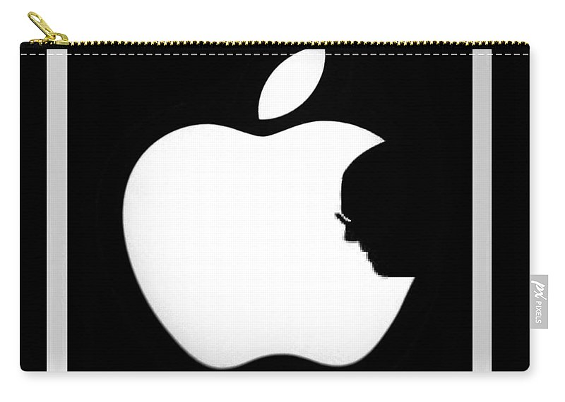 Black And White Carry-all Pouch featuring the photograph Steve Jobs Apple by Rob Hans