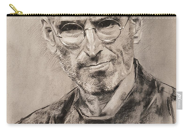 Steve Jobs Carry-all Pouch featuring the drawing Steve Jobs by Ylli Haruni